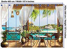 Wandmotiv24 Fototapete Tropen Meerblick Balkon Segelschiff Xxl 400 X 280 Cm 8 Teile Tapete Vliestapete Fototapeten Wandbild M Outdoor Decor Outdoor Decor