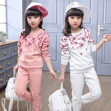 Nuevo 2019 Otoño Niños Ropa Niños Niñas Conjuntos Estampado Floral Sudadera Pantalones De Dos Piezas Trajes Depor Kids Outfits Girl Suits Girls Clothing Sets
