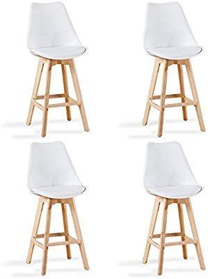 Designetsamaison Lot De 4 Chaises Hautes Blanches Gotteborg