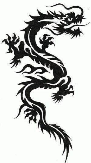 Schablone Drache Tattoo auf A4