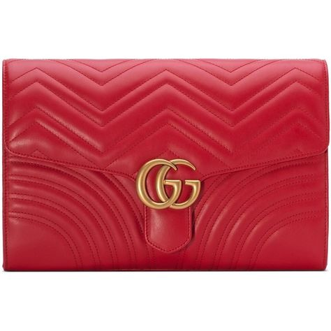 f23098bd4946 Gucci Gg Marmont Matelassé Clutch ($1,175) ❤ liked on Polyvore featuring  bags, handbags, clutches, clutches & evening, red, women, gucci handbags,  gucci, ...