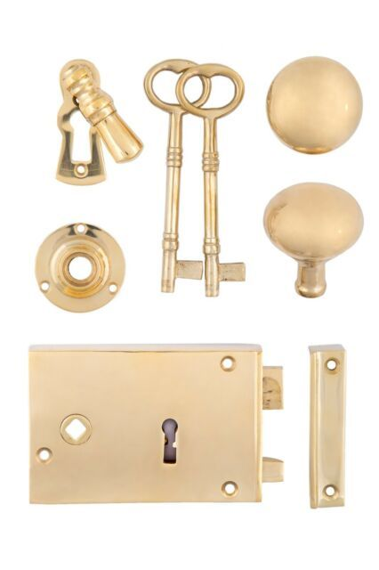 Solid Brass Rim Lock Set With Doorknobs /& Rosette Key Escutcheon