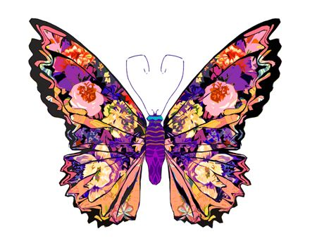 BUTTERFLY STICKERS mixed 2 sheets; bright colours metallic *fun /& colourful*