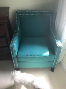 Brand New Aqua Accent Chair With Silver Studs 150 In Midhurst