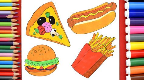 How To Draw Pizza Hamburger Hot Dog French Fries Learn To Draw Fast Foo Food Coloring Pages French Fries Hot Dogs