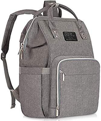 ONSON Multifunction Waterproof Travel BackPack Maternity Baby Nappy Changing Bags with Insulated Pockets Stylish Gray Stroller Straps Large Capacity Diaper Bag Backpack