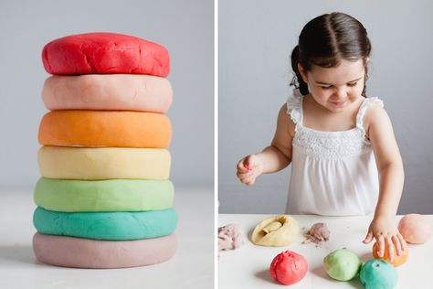 Rainbow scented play dough made from Jell-O - my kids LOVE this recipe, it's so soft!...Going to make a big rainbow batch for St. Paddy's day!