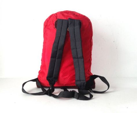 vintage 80s jansport style nylon and LEATHER vintage daypack BACKPACK --  red, black   8e20c399ae