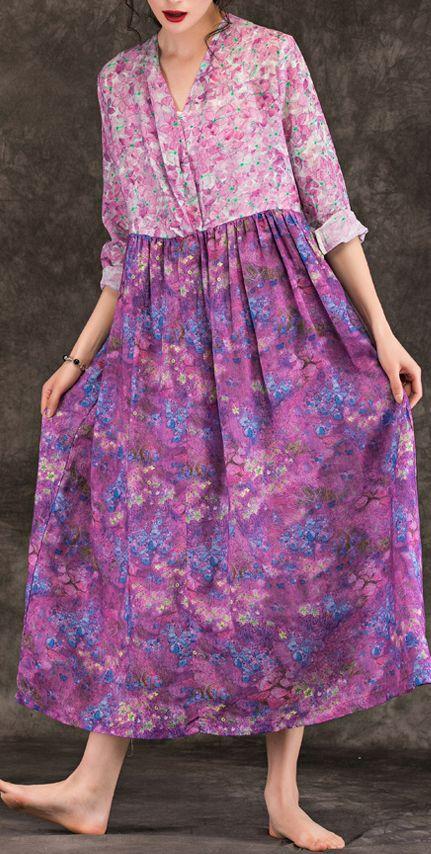 Linen Robe Retro Printed Floral V Neck Cotton and Linen Dresses Linen Dresses Summer Dresses Plus Size Dresses Bust140CM Long Tunic