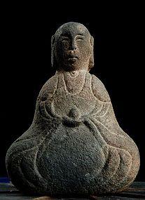 Figural Stone Jizo Bosatsu Bodhisattva Buddha Edo 18 c