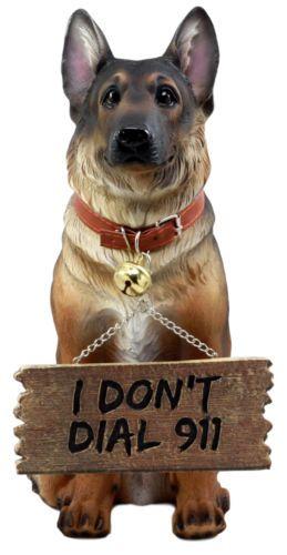 Faithful Collared German Shepherd Guard Dog Large Figurine Holding