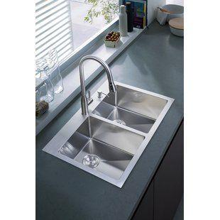 Akdy 32 X 22 Drop In Kitchen Sink With Basket Strainer Wayfair Drop In Kitchen Sink Undermount Kitchen Sinks Double Bowl Kitchen Sink