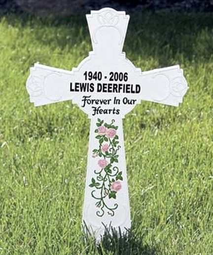 PERSONALIZED-- MEMORIAL CROSS MONUMENT CEMETERY GRAVE STAKE