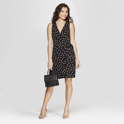 Women s Polka Dot Sleeveless V-Neck Wrap Dress - A New Day  Black ... d845adc36