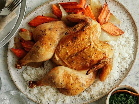 Recipe of the Day: Roast Chicken with Rice and Salsa Verde 🍗 This simple roast chicken tastes great and won't break the bank. Served with fresh salsa verde and satisfying rice and veggies, it's a delicious and money-saving way to feed a family of four.