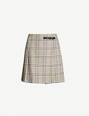 Claudie Pierlot High Waist Pleated Checked Woven Mini Skirt Mini