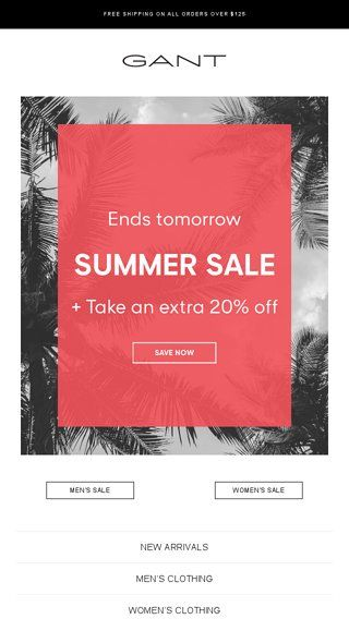 2018 sneakers buying now genuine shoes Hurry Up: Summer Sale Ends Tomorrow! - GANT Email Archive ...