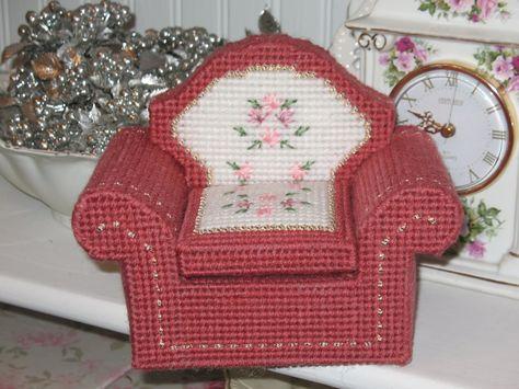 Plastic Canvas Chair; Doll Furniture.