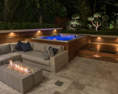 deck ideas with hot tub ~ deck ideas + deck ideas on a budget + deck ideas decorating + deck ideas for above ground pools + deck ideas diy + deck ideas on a budget decorating + deck ideas with hot tub + deck ideas on a budget backyard Hot Tub Backyard, Hot Tub Garden, Small Backyard Pools, Backyard Patio Designs, Backyard Ideas, Hot Tub Gazebo, Patio Decks, Backyard Pool Landscaping, Rooftop Patio