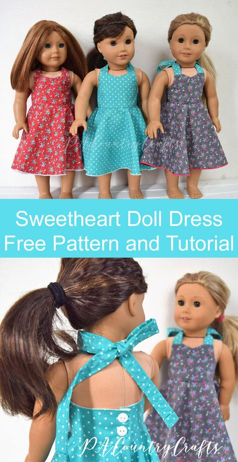 Lydia's Sweetheart Doll Dress Pattern and Tutorial — PACountryCrafts - - Free doll dress pattern and tutorial for a vintage, retro style halter dress with a sweetheart neckline and a full circle skirt. American Girl Outfits, Ropa American Girl, American Doll Clothes, American Girl Doll Pajamas, American Girl Dress, Baby Clothes Patterns, Doll Dress Patterns, Doll Sewing Patterns, Doll Patterns Free