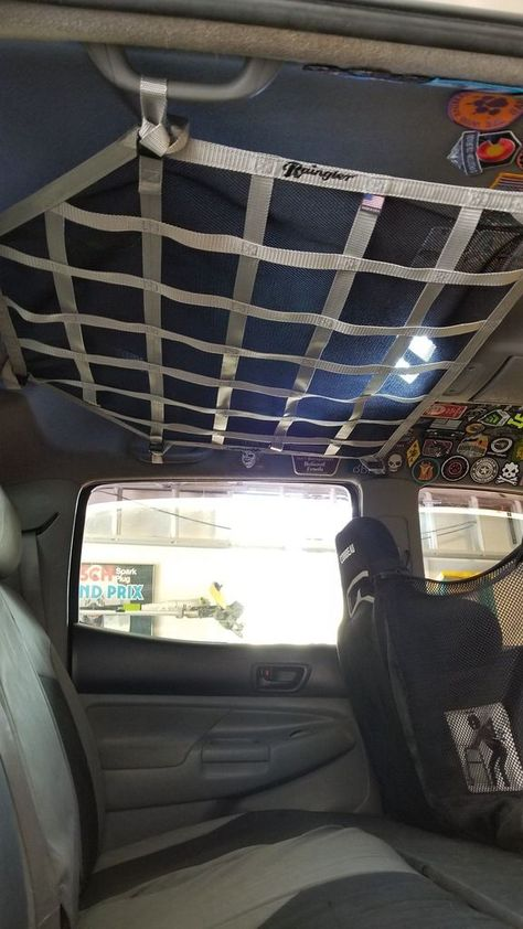 toyota tacoma accessories 2005 - newer Toyota Tacoma Double Cab Ceiling Attic Net Raingler 2003 Toyota Tacoma, Custom Toyota Tacoma, Toyota Tacoma Double Cab, Toyota Tacoma Interior, Toyota Tacoma Bumper, Toyota Tacoma Access Cab, Overland Gear, Overland Truck, Overland Tacoma