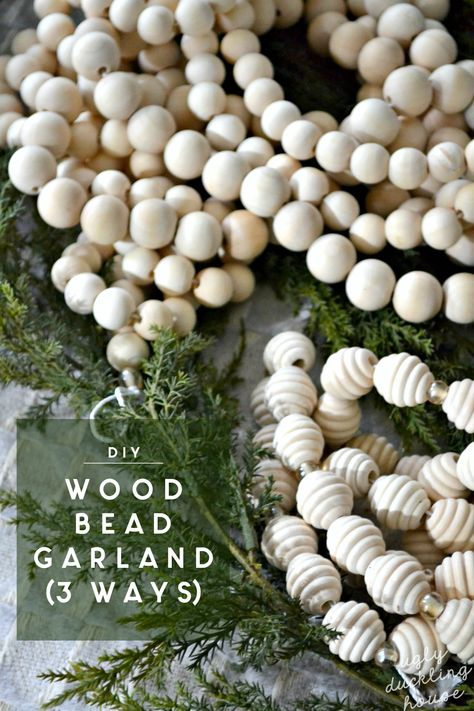 This year's Christmas theme decor is all about woodland winter relaxation. With lots of natural wood tones and neutrals of gold, silver, and white, I have tons of DIY ideas in store, starting with this extra-long DIY wood bead garland (cheaper to make than to buy!). #garland #woodbeads