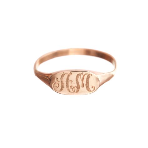 Petite Signet Ring - in silver - with ER initials, size 7