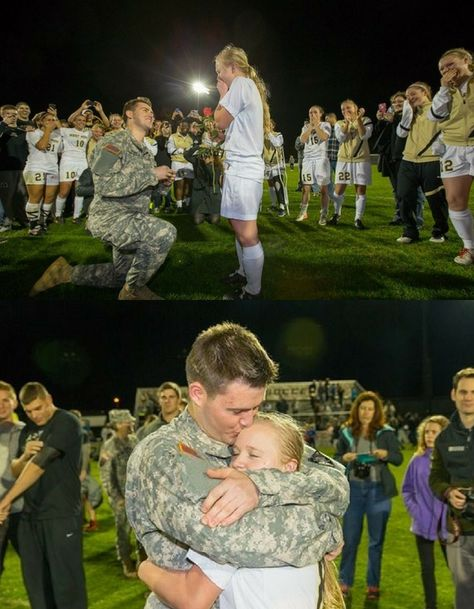 This West Point soccer player got the most amazing surprise when her boyfriend walked onto the field to propose!