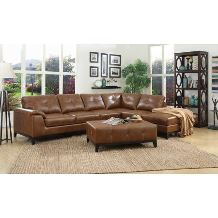 Emerald Home Marquis Chestnut Brown Sectional With Faux Leather Upholstery Padded Arms And Contrast Stitching Walmart Com Modular Sectional Sofa 3 Piece Sectional Sofa Sectional Sofa Couch