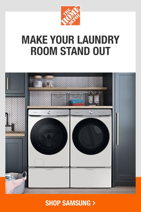 Add a touch of style to your laundry room with the new, premium Samsung washer and dryer. Its modern design and premium finishes make any laundry space look great and the simplified control panel makes it easy to use. Tap to explore the new Samsung intelligent Smart Dial washer and dryer pair at The Home Depot.