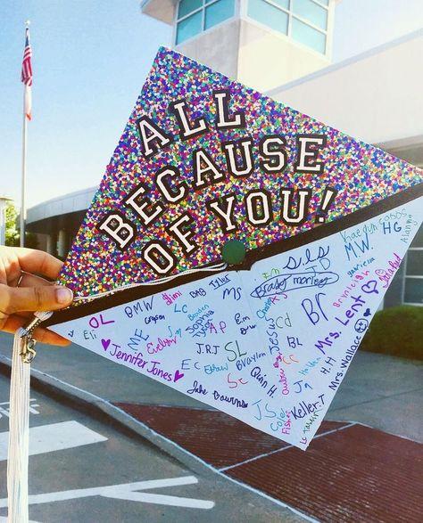 My 2018 #gradcap. #graduationcap #gradcapdesign Future teacher graduation cap design. #futureteacher all because of you!