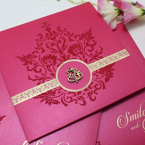 Magenta colour card in #goldfoil strip and #lasercut religious logo.