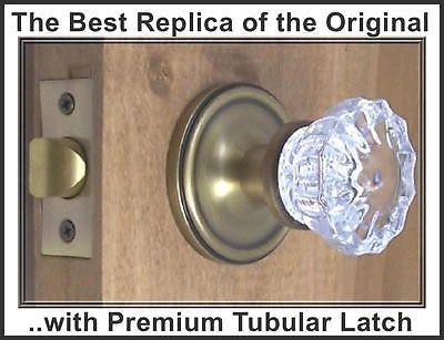 Finest fluted Depression Crystal Passage Door Knob Set Antiques