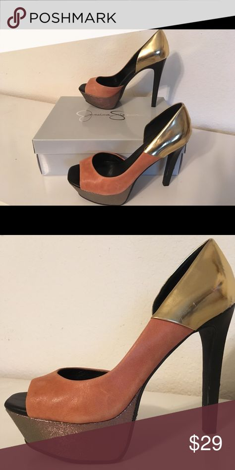 6241d607bc2 jessica simpson metallic pumps lightly worn with few scuff marks  metallic  brule