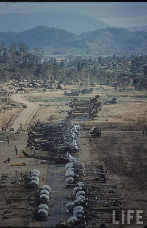 Photo taken  by Larry Burrows...... An Khe 'Golf Course', the helipad of the 1st Cavalry Division. No dates but most likely 1965 by the look of it.