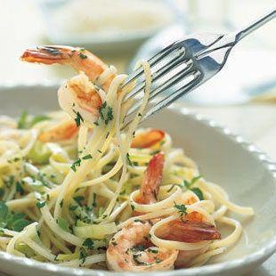 Shrimp And Leek Linguine In White Wine Sauce Recipe White Wine Sauce Recipes White Wine Sauce Recipes