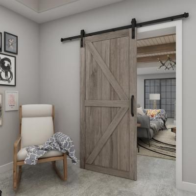 Add instant warmth and charm to any room of your choice with the grey Artisan barn door. Inspired by the traditional British K-Brace design, this door will help to transform your space to farmhouse chic Interior Sliding Barn Doors, Diy Sliding Barn Door, Double Barn Doors, Diy Barn Door, Install Barn Door, Rustic Barn Doors, Dutch Door Interior, Barn Door Decor, Barn Style Doors