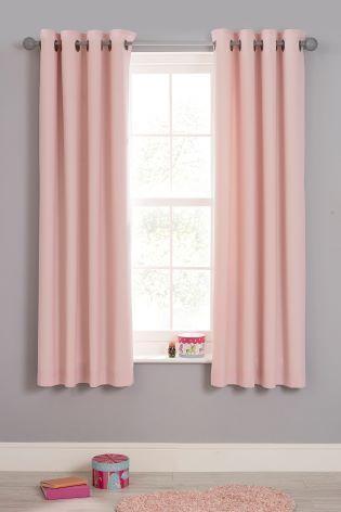 Light Pink Plain Dye Blackout Eyelet Curtains Light Pink