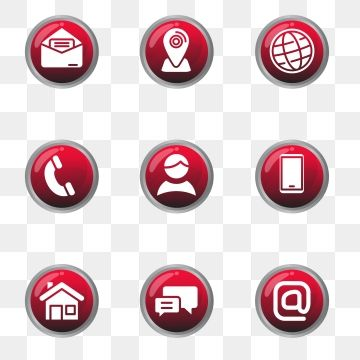 Set Of Contact Icon In Glossy Red Design Contact Icon Address Png And Vector With Transparent Background For Free Download