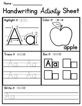 Handwriting Activity Sheets, ABC Practice. No prep | Kindergarten ...