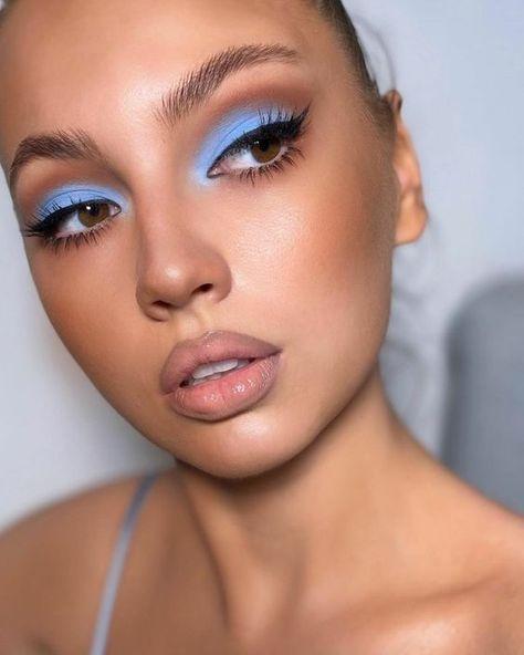Makeup Eye Looks, Eye Makeup Art, Cute Makeup, Glam Makeup, Gorgeous Makeup, Skin Makeup, Blue Eyeshadow Makeup, Makeup Without Eyeliner, Brown Makeup Looks