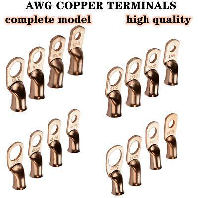 10 20pcs Awg Wire Bare Copper Lug Ring Terminals Battery Wire Welding Cable Awg In 2020 Welding Cable Wire Connectors Copper