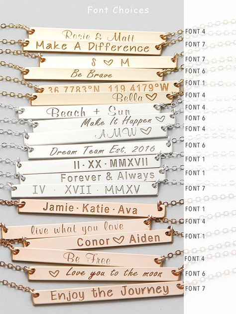 • To personalized your piece • please leave us a message on the engraving/name you want in the comment box at checkout. :) Handmade with great care and lots of love from our team in NYC- You can personalized this bar necklace with anything you want. Our engraving work is beautiful and
