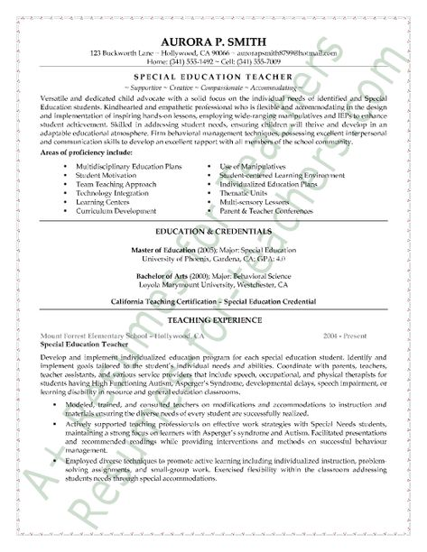 Sample Teacher Resume Page 1 Job Hunting Pinterest Teacher - Special Education Assistant Resume