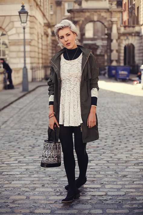 White Lace Dress and Parka