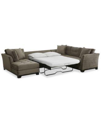 Microfiber Sectional Sleeper Sofa Furniture Closeout Elliot 3 Pc