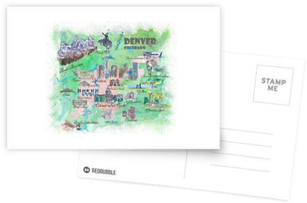 Colorado Karte.Denver Colorado Karte Reise Poster übersicht Best Of Typische