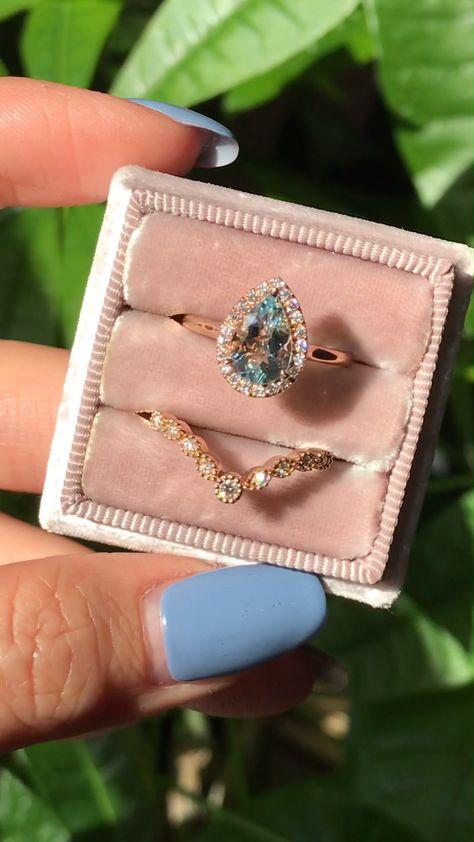 Pear Aquamarine Halo Ring + Star Diamond Band Bridal Set by La More Design