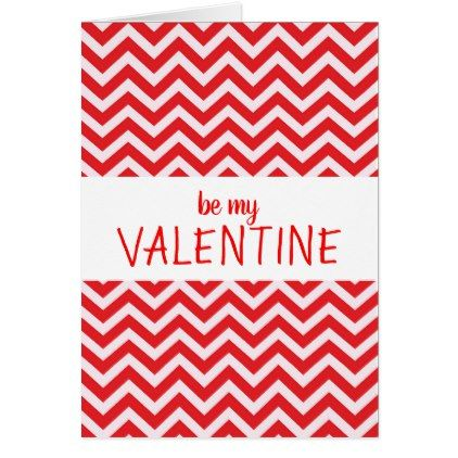 Custom Personalized Red Chevron Valentine\'s Day Card
