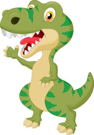 Cute Dibujos Animados Tyrannosaurus Agitando La Mano Dinosaurio Rex Dibujo Imagenes De Dinosaurios Animados Dibujos